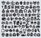 Big set of monsters and robots faces. Vector illustration stock illustration