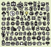 Big set of monsters and robots faces #2. Big set of monsters and robots faces. Vector illustration stock illustration