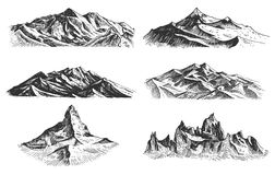 Big set of mountains peaks, vintage, old looking hand drawn, sketch or engraved style, different versions for hiking. Climbing stock illustration
