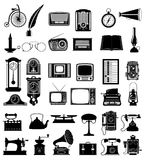 Big set of much objects retro old vintage icons stock vector ill Stock Photography