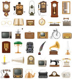 Big set of much objects retro old vintage icons stock vector ill Royalty Free Stock Photo