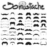 Big set of mustache  on white background set 2 , hipster m Stock Images