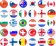 Big set of national flag buttons Stock Photos