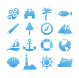 Big set of Nautical icons for Vacation and Travel Royalty Free Stock Photography