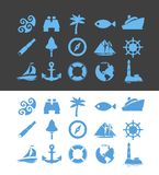 Big set of Nautical icons for Vacation and Travel. Big Vector set of Nautical icons for Vacation and Travel on yacht or sailboat in blue color  on white and Royalty Free Stock Photography