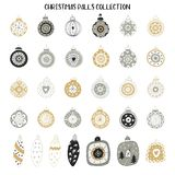 Big set of New Year decorations. Hand drawn Christmas balls collection. Vector illustration.  stock illustration