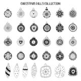 Big set of New Year decorations. Hand drawn Christmas balls collection. Vector illustration.  royalty free illustration