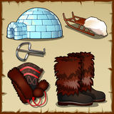 Big set of northern hunter at the North pole Royalty Free Stock Images