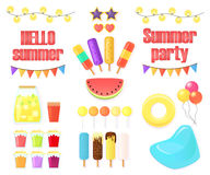 Big set of objects for summer party isolated on white background. Watermelon, garlands, drinks, festive flags, an inflatable circle and an armchair, ice cream Royalty Free Stock Photos