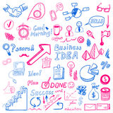 Big set od business doodles, cian and magenta hand drawn icons. Stock Images