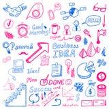 Big set od business doodles, cian and magenta hand drawn icons. Big set od business doodles, cian and magenta hand drawn icons on white background royalty free illustration