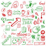Big set od business doodles, red and green hand drawn icons. Royalty Free Stock Photo