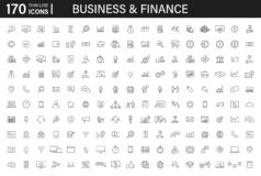 Big Set Of 170 Business And Finance Web Icons In Line Style. Money, Bank, Contact, Infographic. Icon Collection. Vector Stock Image