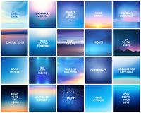BIG Set Of 20 Square Blurred Nature Dark Blue Backgrounds. With Various Quotes Royalty Free Stock Photos