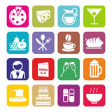 Big Set Of Cafe And Restaurant Icons. Flat Design. Stock Image