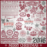 Big Set Of Christmas Calligraphic Design Elements Stock Photos