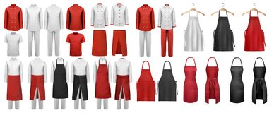 Free Big Set Of Culinary Clothing, White And Red Suits And Aprons. Stock Photography - 191180112