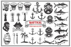 Big Set Of Design Elements For Nautical Emblems, Seafood Restaurant. Stock Photos