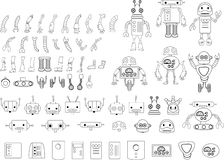 Big Set Of Different Robot Parts In Black And White Royalty Free Stock Photo