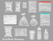 Free Big Set Of Polypropylene Plastic Packaging - Sacks, Tray, Cup On Transparent Background. Royalty Free Stock Image - 144498536