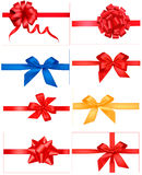 Big Set Of Red Gift Bows With Ribbons. Royalty Free Stock Photos