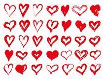 Free Big Set Of Red Grunge Hearts. Design Elements For Valentines Day. Vector Illustration Heart Shapes. Isolated On White Stock Photo - 118095190