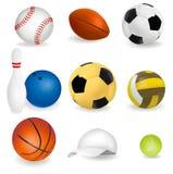 Big Set Of Sport Balls And Tennis Cap. Royalty Free Stock Photography