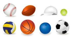 Big Set Of Sport Balls And Tennis Cap. Vector Stock Photo