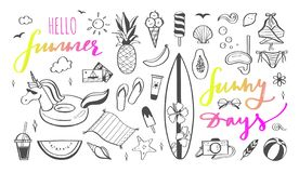 Free Big Set Of Summer Vector Design Doodle Elements. Beach Collection, Tropical Fruits, Swimsuit, Surfing Stock Photography - 144170082