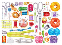 Free Big Set Of Various Watercolor Sewing Tools. Sewing Kit Royalty Free Stock Photography - 70772857