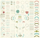 Big Set Of Vector Decorative Hand Drawn Design Elements Stock Image