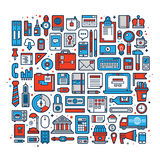 Big set of office design elements and icons in flat style.  Stock Photos