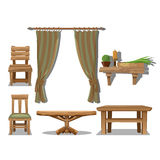 Big set of old wooden furniture in Wild West style. Decor items royalty free illustration