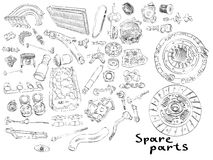 Big set of painted aftermarket spare parts for Royalty Free Stock Photo