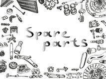 Big set of painted aftermarket spare parts for Royalty Free Stock Image