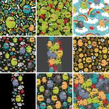 Big set of patterns  with monsters. Big set of patterns and illustrations with cute little monsters. Vector Royalty Free Stock Photo