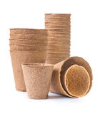 Big set of peat pots isolated on white background Royalty Free Stock Images
