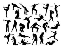Big set of people in action silhouettes 1 Royalty Free Stock Photo