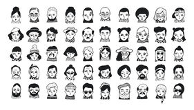 Big set of people avatars for social media, website. Doodle portraits fashionable girls and guys. Trendy hand drawn. Icons collection. Black and white vector Royalty Free Stock Photos