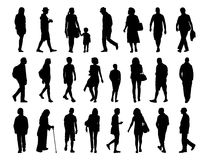Big set of people walking silhouettes set 3 Royalty Free Stock Image