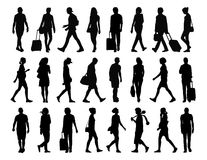 Big set of people walking silhouettes set 4 Stock Image