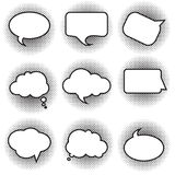 Big set picture blank template comic text speech chat bubble halftone dot background style pop art Royalty Free Stock Photos