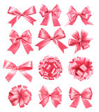 Big set of pink gift bows and ribbons. Stock Images