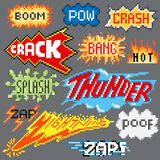 Big set of pixel inscriptions. For games and mobile applications Stock Images