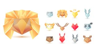 Big set of polygonal geometric multicolor animals head symbol shapes. Trendy icons and logotypes. Business signs symbols, labels,. Badges, frames and borders Stock Images