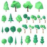 Big set of polygonal trees Royalty Free Stock Photos