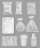 Big set of polypropylene plastic packaging -. Sacks, tray, cup on transparent background. Vector illustration Stock Images