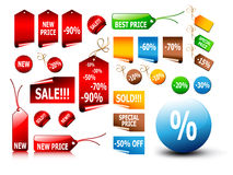 Big set of price tags Royalty Free Stock Photos