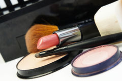 Lipstick and decorative cosmetic Royalty Free Stock Images