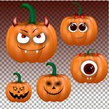 Big set of pumpkins for Halloween on tree background. vector illustration